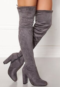 AX Paris Overknee Boots Grey Bubbleroom.se