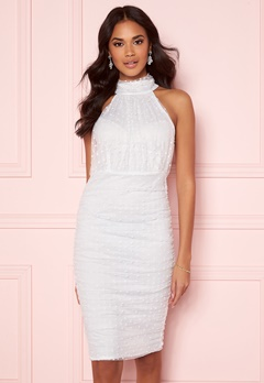 AX Paris Polka Dot Mesh Dress White Bubbleroom.se