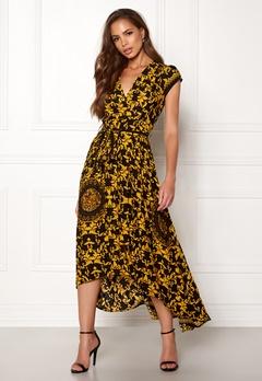 AX Paris Printed Cap Maxi Dress Black/gold Bubbleroom.se