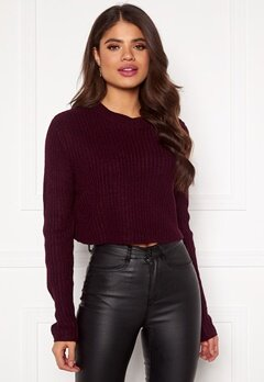 AX Paris Rib Knit Cropped Jumper Wine Bubbleroom.se