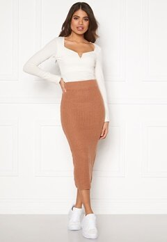 AX Paris Rib Knit Midaxi Skirt Camel Bubbleroom.se