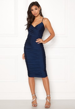 AX Paris Rouched Midi Dress Navy Bubbleroom.se