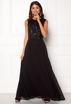AX Paris Sequin Chiffon Maxi Dress Black Bubbleroom.se