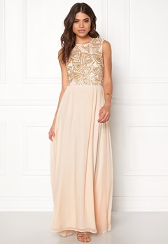 AX Paris Sequin Chiffon Maxi Dress Nude Bubbleroom.no