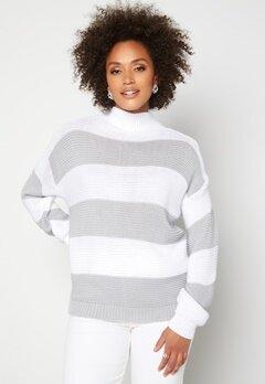 AX Paris Stripe Knitted Jumper Grey bubbleroom.se
