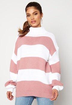 AX Paris Stripe Knitted Jumper Pink Bubbleroom.se