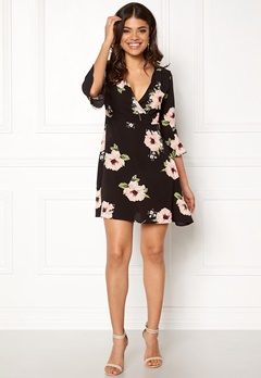 AX Paris V Neck Floral Dress Black Bubbleroom.fi