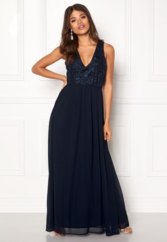 AX Paris V Neck Lace Bodice Maxi Navy Bubbleroom.no