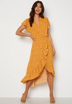 AX Paris Wrap Frill High Low Maxi Dress Yellow Bubbleroom.se
