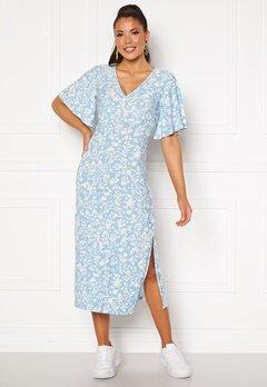 Blue Vanilla Angel Sleeve Midi Dress Pale Blue Bubbleroom.se