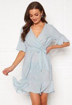 Blue Vanilla Ditsy Wrap Frill Mini Dress Pale Blue Bubbleroom.se