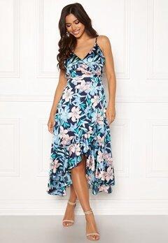 Blue Vanilla Floral Frilly Dress Blue Bubbleroom.se