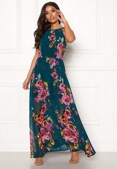 Blue Vanilla Floral Keyhole Maxi Dress Green Bubbleroom.se