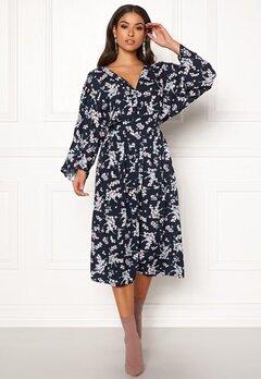 Blue Vanilla Floral Kimono Midi Dress Navy Bubbleroom.se