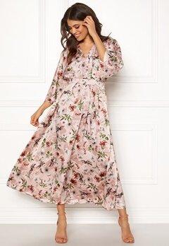 Blue Vanilla Floral Kimono Midi Dress Pink Bubbleroom.se