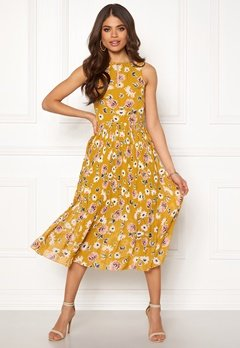 Blue Vanilla Floral Pleated Midi Dress Mustard Bubbleroom.se