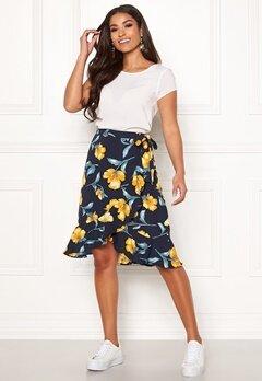 Blue Vanilla Floral Ruffle Wrap Skirt Navy Bubbleroom.se