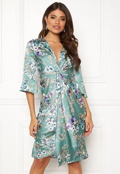 Blue Vanilla Floral Twist Midi Dress Mint Bubbleroom.se