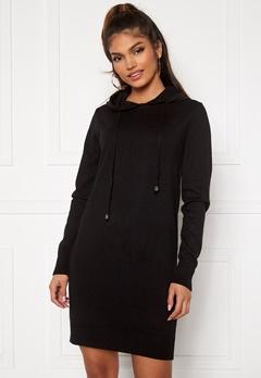 Blue Vanilla Knitted Jumper Dress With Hood Black Bubbleroom.se
