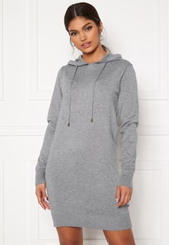 Blue Vanilla Knitted Jumper Dress With Hood Grey Bubbleroom.se