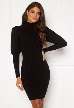 Blue Vanilla Knitted Puff Sleeve Dress Black bubbleroom.se