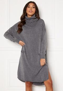 Blue Vanilla Knitted Roll Neck Dress Grey Bubbleroom.se