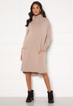 Blue Vanilla Knitted Roll Neck Dress Stone Bubbleroom.se