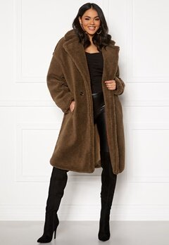 Blue Vanilla Oversized Teddy Coat Tan Bubbleroom.se