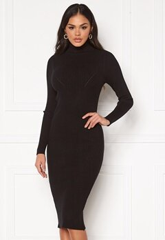 Blue Vanilla Rib Knit Midi Dress Black Bubbleroom.se