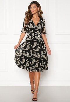Blue Vanilla Wrap Midi Dress Black Bubbleroom.se
