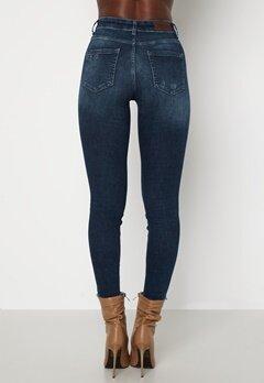 ONLY Blush Life Mid Ank Raw Jeans Dark Blue Denim Bubbleroom.se