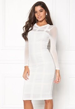 Girl In Mind Bodycon Mesh Dress White Bubbleroom.no