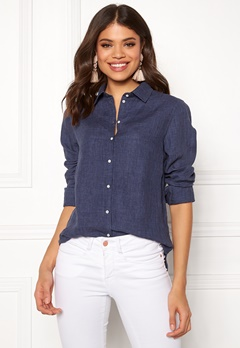 Boomerang Lina Linen Shirt Blue Nights Bubbleroom.se