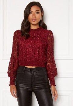BUBBLEROOM Aida lace blouse Wine-red Bubbleroom.se