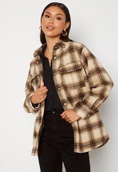 BUBBLEROOM Alice Check Shirt Jacket Beige / Brown / Checked Bubbleroom.se