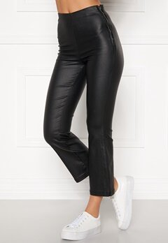 BUBBLEROOM Alicia coated kickflare trousers Black Bubbleroom.se
