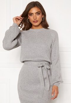 BUBBLEROOM Amira knitted dress Grey melange Bubbleroom.se