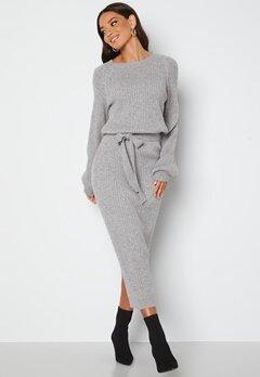BUBBLEROOM Amira knitted dress Grey melange bubbleroom.se