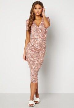 BUBBLEROOM Becky wrap dress Dark dusty pink / White Bubbleroom.se
