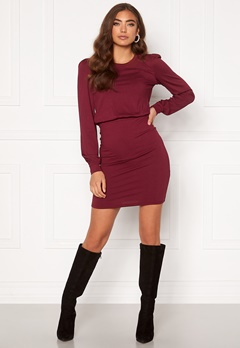 BUBBLEROOM Besa long sleeve short dress  Wine-red Bubbleroom.se