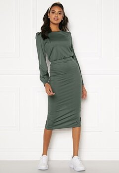 BUBBLEROOM Besa rib dress Dark green Bubbleroom.se