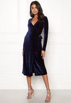 BUBBLEROOM Blair overlap dress Dark blue Bubbleroom.se