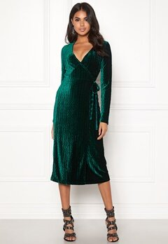 BUBBLEROOM Blair overlap dress Dark green Bubbleroom.se