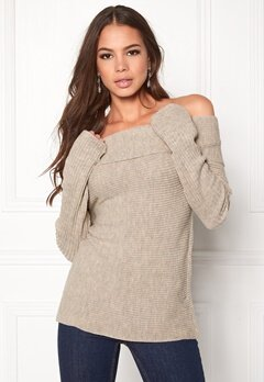 BUBBLEROOM Brixia knitted sweater Beige melange Bubbleroom.fi