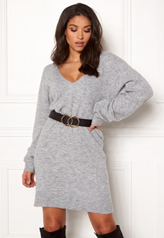 BUBBLEROOM Brooke knitted dress Grey melange Bubbleroom.se