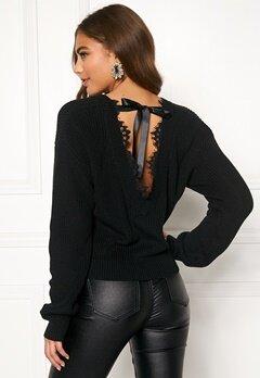 BUBBLEROOM Callie lace neck knitted sweater Black Bubbleroom.se