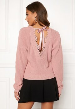 BUBBLEROOM Callie lace neck knitted sweater Dusty pink Bubbleroom.se