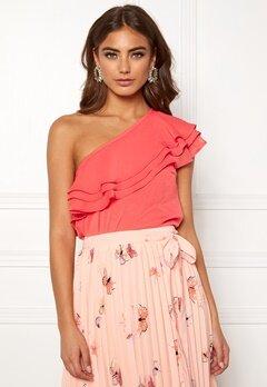 BUBBLEROOM Carolina Gynning Flounce blouse Peach Bubbleroom.se