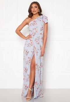 BUBBLEROOM Cyrene one shoulder chiffon gown Light blue / Floral Bubbleroom.se