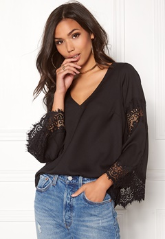 BUBBLEROOM Dana flared sleeve top Black Bubbleroom.eu